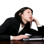 asian business woman sleeping